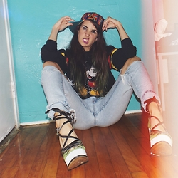 Christine Bourie - Total Recall Vintage 90s Printed Cap, Total Recall Vintage Cropped Mickey Sweater, Calvin Klein Vintage Torn Jeans, Tba Lace Up Wedges - National Hat Day