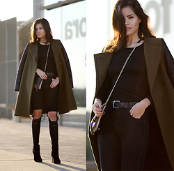 Adriana Gastélum - Bcbg Olive Coat, Uniqlo Black Thermal Tee, Guess? Booties, Sheinside Busted Knee Jeans - When it's windy outside