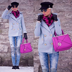 Oksana Orehhova - Yoins Coat, Yoins Shoes, Oasap Hat, Oasap Sunglasses, Alexander Black Bag - CAPTAIN CANDY PINK