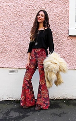 Jess A - Miracle Eye Velvet Bell Bottoms, Vintage Faux Fur Coat, Great Plains Black Top - Miracle Eye