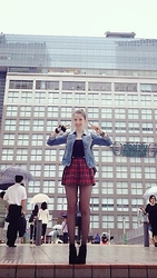 Lil Alina - Underground Creepers, Forever 21 Plaid Skirt, Met Jeans Jacket - Sailor Moon?