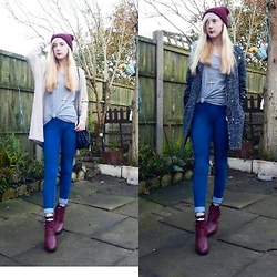 Isobel Thomas - New Look Burgundy Buckled Ankle Boots, H&M Blue Jeggings, Primark Boucle Coat, Primark Beige Cardigan, Primark Grey T Shirt, New Look Beanie Hat - Comfy In A Cardi