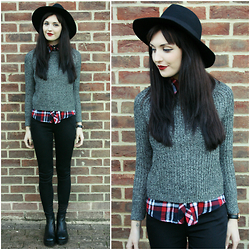Kayleigh B - Oasap Grey Jumper, Oasap Red Check Shirt - Keep The Faith