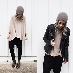 Mary Ellen Skye - Modern Vice Boots, H&M Sweater, Urban Outfitters Hat, All Saints Jacket - Crema