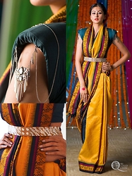 Ms Coco Queen - Indian Saree, Power Shoulder Crop Top, Swarovski - Fusion- Indian Sari With Denims