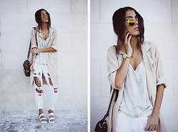 Sofia Reis - Zerouv Sunnies, Sheinside Trench, Style Moi Bag, Obey Top, Style Moi Jeans, Chic Wish Sandals - NUDE