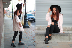 Alexis Brooks - Calico Wide Brim Hat, H&M Fluffy Cardigan, Calico Night Watch Cutout Booties, Crystal & Casings Marble Necklace - FLUFFY PINK