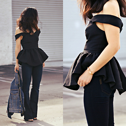 Hallie S. - Peplum Top, Paige Denim Flared Jeans - Peplum Top and Flared Jeans