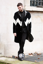 Geraint Donovan-Bowen - Burberry Shearling Coat, Zara Shirt, Nudie Jeans, Dr. Martens Boots - His Name Is Black Ice