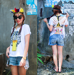 Germeline Nabua - Diy Cut Out Sinulog Shirt, Feurbands Headdress, Mto Customized Shorts Lace, Sunnies - Sinulog Outfit Festival!