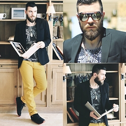 Gabriel - Giorgio Armani Blazer, H&M T Shirt, Hugo Boss Pants, Zara Sunglasses, Zara Shoes - BLVCK & YELLOW