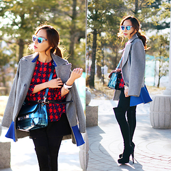 MJ KIM - Westwardleaning Mirror Sunglasses, Noir Coat, Givenchy Bracelet, Proenza Schouler Ps11 Bag - Obsessed with metallic blue