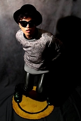 Kyohei Kimura - Sunglasses Catsunglasses, Outer, Grey Fake Leather Pants, Sneaker - Kyohei Fashion Style