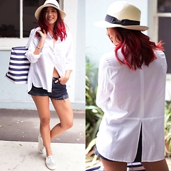 Jessie Khoo - Silver Metallic Plimsols, One Teaspoon Denim Cut Offs, Target Stripe Beach Bag, Target Straw Fedora, Hat, Target Dannii Minogue Petites Relaxed Roll Up Sleeve Shirt - High Summer