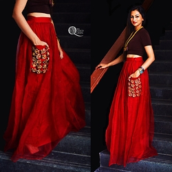 Ms Coco Queen - Nikhil Thampi Maxi Skirt - Red Ridding Skirt