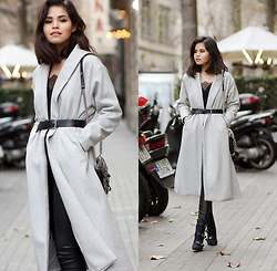 Adriana Gastélum - Sheinside Long Grey Coat, Cami Nyc Lace Camisole, Express Faux Leather Leggings, Guess? Booties, Rebecca Minkoff Mini Mac, Gap Men's Belt - Another day, same grey coat