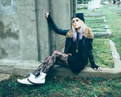 Hayley Evans - Jawbreaking Logo Beanie, John & Jenn Vegan Leather Jacket, Aldo Dog Tag Necklace, Killstar Sorrow Hood Dress, Dr. Martens White Patent - Shadow Garden
