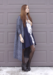 Breanne S. - Tobi Swing Dress, Steve Madden Platform Boots, Urban Outfitters Speckled Cardigan - Navy Days