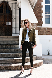 Whatever Bailey - Balmain Military Jacket, Isabel Marant Leather Pants, Saint Laurent Bag - BETWEEN THE LINES