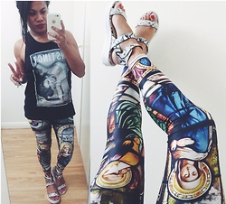 Boio Stansfield - Black Milk Clothing Cathedral Leggings - Tee and leggings.