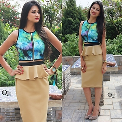 Ms Coco Queen - Nityta Bajaj Peplum Skirt, Nitya Bajaj Crop Top, Clarks Heels - Tropical Crush