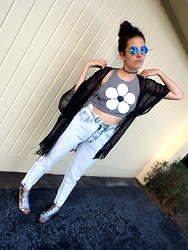 Christine Bourie - Total Recall Vintage Striped Daisy Crop Top, Acid Reign Vintage Washed High Waist Jeans, Nasty Gal Sheer Fringe Kimono, Total Recall Vintage Reflective Sunglasses, Miista Holographic Sandals - Tgif.