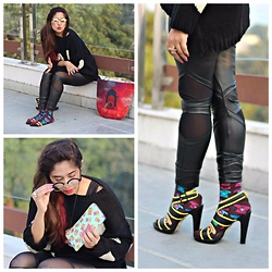 Surbhi Suri - Westside Stores Jumper, From London Mesh Paneled Pleather Leggings, India Circus Telephone Print Socks, India Circus Tote, India Circus Spectacle Case - Quirk on the Edge