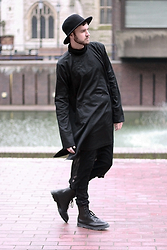 Geraint Donovan-Bowen - Comme Des Garçons Hat, Kokon To Zai Shirt, The Freak Show Sheer Maxi, Open Jeans, Dr. Martens Boots - His Name Is Elongate