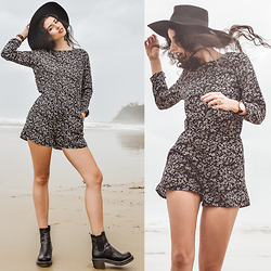 Elle-May Leckenby - Black Ankle Boots, Sheinside Long Sleeve One Piece - Can't hide it