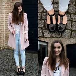 Nausikaä B - Memory Lane Pink Coat, Topshop Blue Jeans, New Look Platform Sandals - The pink coat
