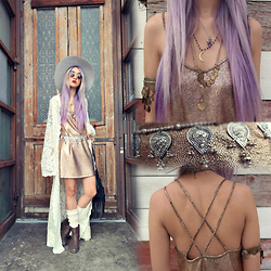 Sera Brand - Motel Swallow Tail Slip Dress In Crackle Rose Gold, Lack Of Color Aus Silver Haze, Free People Upper Arm Cuff, Red Loon Studio Amethyst Pendent, Artefacts Collection Crescent Moon, Urban Outfitters Socks, Forever 21 Brown Boots - Shine On