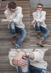 Andrew Eirich - Club Monaco Ivory Cable Knit Sweater, Zara Distressed Denim, Zara Leather Moccasin, Michael Kors Rose Gold & Silver Runway Watch, Cutler And Gross 1119 Grad Brown Amber Sunglasses - Heartstrings.