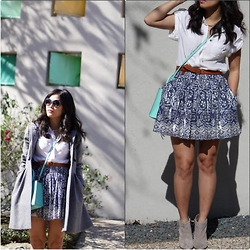 Quynh Tran - Anthropologie Silk Button Down, Piperlime Sabine Isabel Skirt, Matiko Darcy Heeled Boots, Asos Grey Skater Coat, Rebecca Minkoff Mini Affair - Glossy