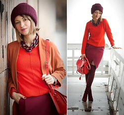 Galant-Girl Ellena - Diana Broussard Necklace, Stuart Weitzman Over The Knee Boots, Opening Ceremony Bag - Its all about red!