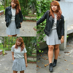 Dana Lopez - Mossimo Stripes Shirt, Mango Gray Skorts, Forever 21 Leather Jacket - They are the hunters, We are the foxes.