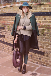 IIDA H - And Other Stories Coat, Zara Rollneck Jumper, By Malene Birger Black Shirt, Muubaa Leather Trousers, Mulberry Daria - Hues of Green