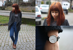 Tatiana Castro - Oasap Oversized Lapels Tweed Coat, Daniel Wellington Classic Sheffield Lady Watch - A Simple Design