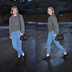 Elizabeth Claire - Target Grey Cowl Neck Jumper, Urban Outfitters High Waisted Jeans, Mix No. 6 Black And Gold Purse, Jennifer Lopez For Kohls Black And Gold Oxfords - Chilly