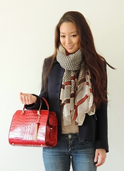 Kimberly Kong - Charlotte Russe Scarf, Marc By Jacobs Coat, Handbag Heaven Bag, Bongo Jeans - Room for Happiness