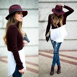 Pam Hetlinger - Topshop Burgundy Crop Sweater - Burgundy x Ripped Denim