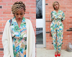 Taffiny Kablay - Forever 21 Sweater, Goodwill Jumpsuit, Goodwill Red Heels - Grandma Chic