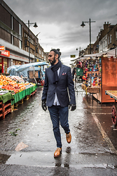 Dalbir Virdee - Reiss Blazer, Reiss Pocket Square, Cp Company Navy Ribbed Scarf, All Saints White Linen Shirt, Hugo Boss Blue Cotton Trousers/Pants, Grenson Tan Oxford Shoes, Autograph Luxury Leather Gloves - Cloudy Days