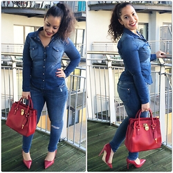 Andrea Da Silva - H&M Denim Shirt, River Island Jeans, Michael Kors Mk Bag, Zara Red High Heels - Denim love