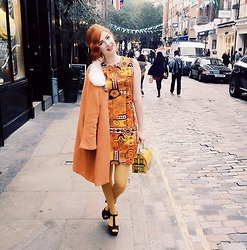 Pip Jolley - Vintage 60s Dress, Tara Starlet Girlfriend Coat, Vintage House Bag, Primark Mustard Tights, Carvella Wedges - Seventeen