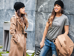 INGRID BETANCOR - Skunkfunk Knitwear Beanie, Zara Long Trench, Love Sue Sweet Message Short Sleeve T Shirt, Zara Ripped Jeans - LONG TRENCH