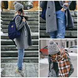 Coconut_Shred - Zara Double Breasted Wool Coat, Converse Basic Backpack, H&M Checked Wool Scarf, Rella Knit Beanie, Nike Suede Sneakers, Zara Ripped Boyfriend Jeans, Fossil Leather Band Watch - Travel in Mind