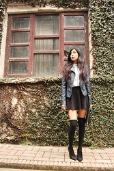 Pravnah Adhikari - Forever 21 Skater Skirt, Forever 21 Knee High Socks, Usc Leather Jacket, Boots, Check Shirt - Skater skirt