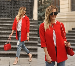 Manuella Lupascu - Oasap Coat, Frontrowshop Boyfriend Jeans - Casual Red