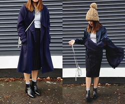 Chariza Miranda - H&M Trench, Vintage Pinstripe Suit Skirt, Zara Chelsea Boots - Navy Blues