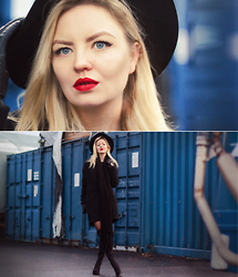 Elin Hansson - Hat, Cubus Black Coat, Over Knee Boots, Make Up Store Lippencil, Monki Knitted Scarf - Färger på natten - KENT